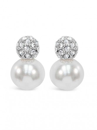 E19291 - Pearl Crystal Rhodium Plated Earring (Accessories By Park Lane)