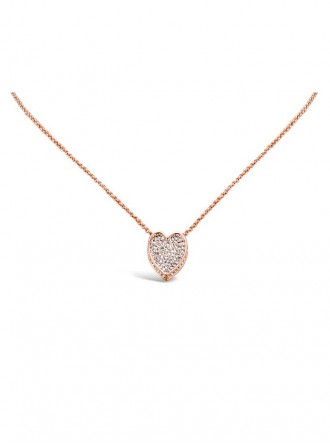 N17130 - Rose Gold Plated Rope Chain Heart Pendant (Accessories By Park Lane)