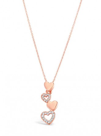N18447 - Rose Gold Plated Heart Drop Crystal Set Necklace (Accessories By Park Lane)