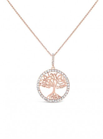 N18493RG - Rose Gold Plated Crystal Tree Of Life Necklace (Accessories By Park Lane)