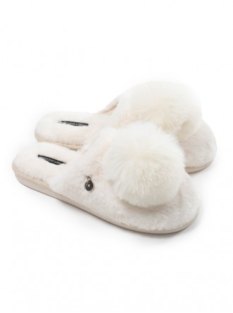 Etta Faux Fur Pom Slippers - Ecru