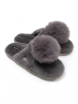 Etta Faux Fur Pom Slippers - Camel