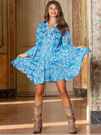V799B Dress - Blue (Antica Sartoria)