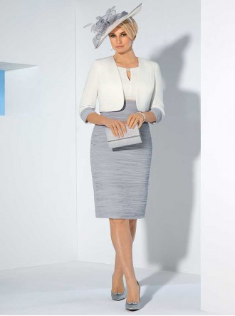 70994C - Smokey Amethyst/Cream Dress & Jacket (Condici)
