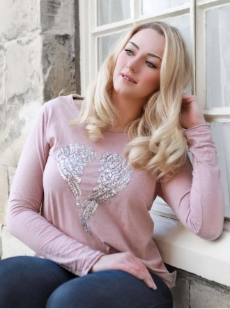 Sequin Angel Wings T Shirt - Dusky Pink
