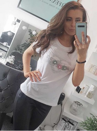 Pretty Floral Embellished T Shirt - White