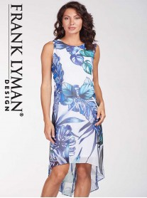 186460 DRESS - White/Blue (Frank Lyman)
