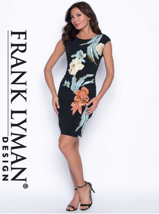 186883 DRESS - Black/Aqua/Peach (Frank Lyman)