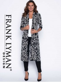 191543 Long Coat - Black/White (Frank Lyman)