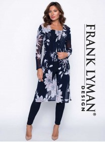 191533 Long Coat - Navy/Off White/Pink (Frank Lyman)