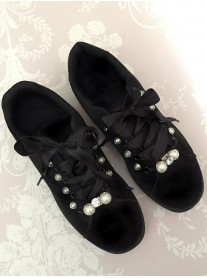 Diamante Pearl Trainers - Black