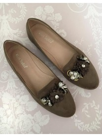H05 - Khaki Green Flower Shoes