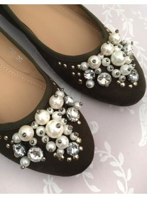 Khaki Green - Pearl Diamante Shoes