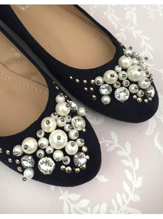 Navy - Pearl Diamante Shoes