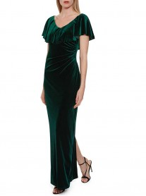 2722 - Teal, Dusty Green & White Dress (Gina Bacconi)