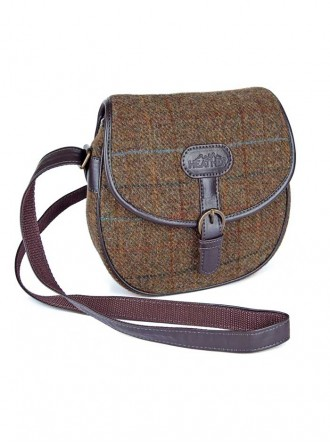 ZB052 - Brown/Gold/Blue Elise Saddle Bag (Heather)