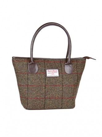 ZB067 - Olive/Wine Check Mary Harris Tweed Tote Bag (Heather)