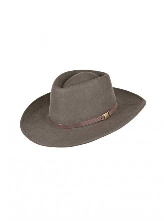 ZH020 - Olive Eden Wool Felt Aussie Hat With Detachable Feather (Heather)