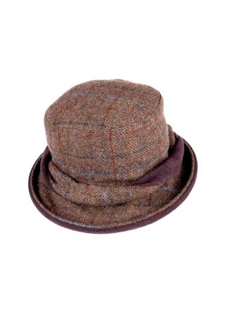 ZH053 - Brown/Gold/Blue Elise Tweed Twist Hat With Detachable Feather (Heather)