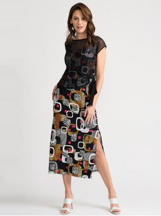 202212 - Black/Multi Dress (Joseph Ribkoff)