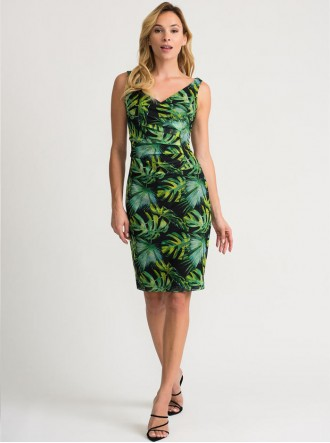 202302 - Black/Green/Multi Dress (Joseph Ribkoff)