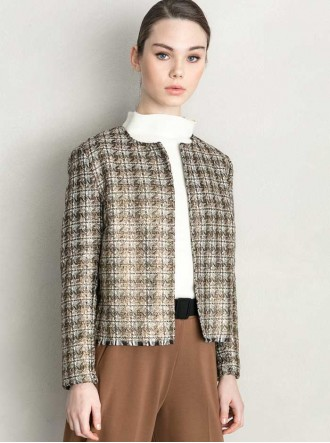 6150 - Grey/Black/White & Red/Black Check Jacket (Maria Bellentani)