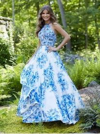 43015 - White/Blue Floral (Mori Lee)