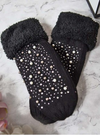 Pearl Knitted Mittens - Black