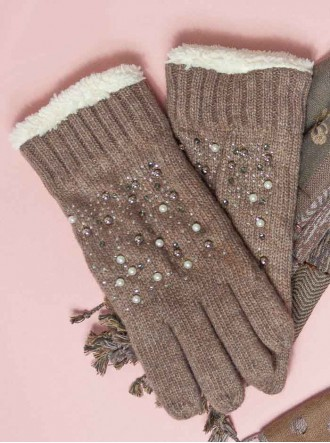Pearl Knitted Gloves - Brown