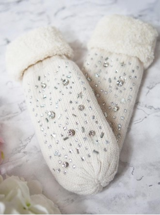 Embellished Knitted Mittens - Cream