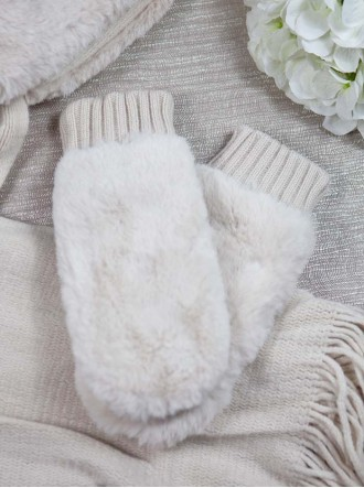 Faux Fur Mittens - Cream