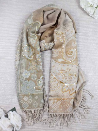 Embellished Beaded Scarf - Camel