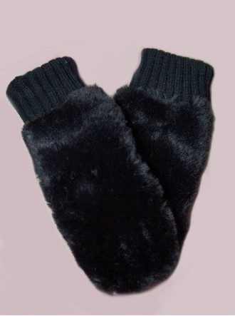 Faux Fur Mittens - Black