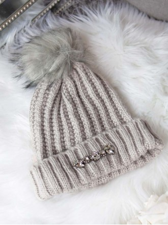 Embellished Bobble Hat - Grey