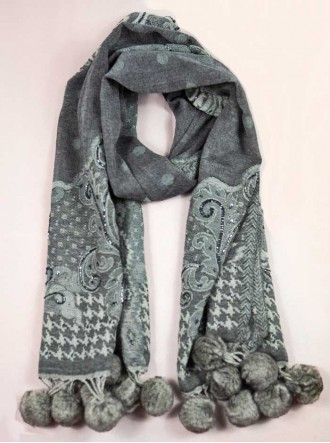 Faux Fur Pom Pom Beaded Scarf - Grey