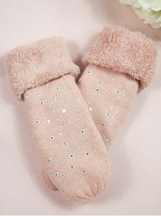 Sparkly Knitted Mittens - Pink