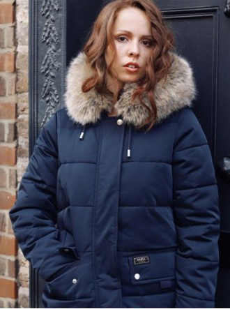 Nordic Faux Fur Puffer Coat - Navy (Parka London)