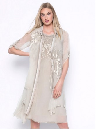 Embellished Chiffon Blouse - Taupe (Picadilly Canada)