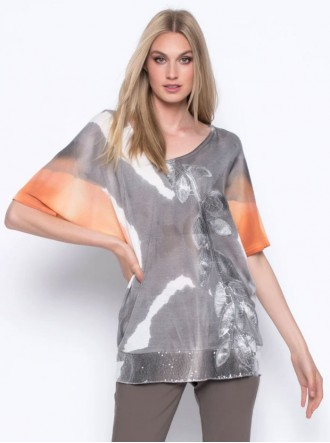 Embellished Print Top - Taupe / Orange  (Picadilly Canada)