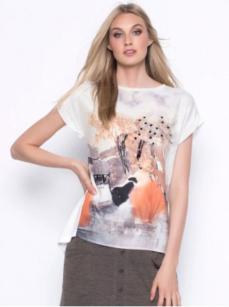 Print Chiffon Top - Beige & White (Picadilly Canada)