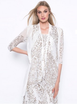 Print Jacket - Beige & White (Picadilly Canada)