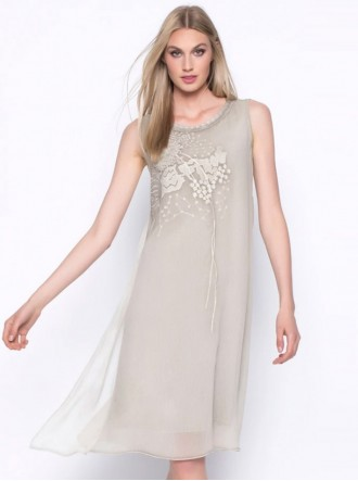 Embellished Chiffon Dress - Taupe (Picadilly Canada)
