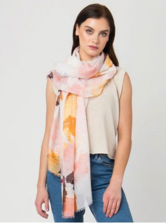 Lilia Printed Scarf - Peach / Multi (Pia Rossini)