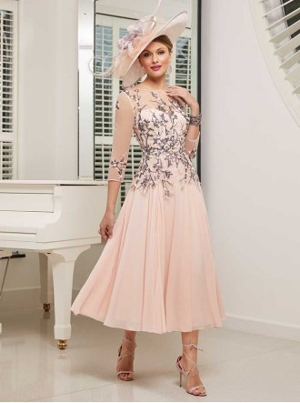 991529 - Baby Pink/Navy Dress (Ronald Joyce)