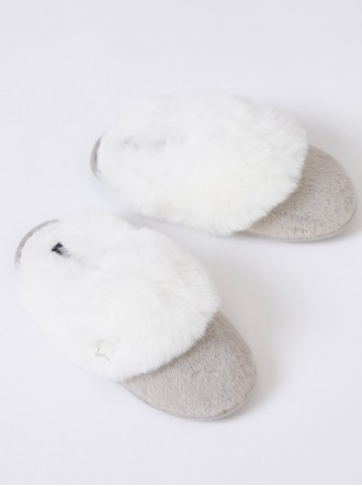 Beth Faux Fur Slippers - Silver