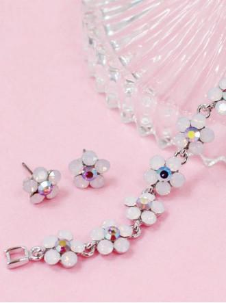 Small Daisy Pink Opal Stud Earrings