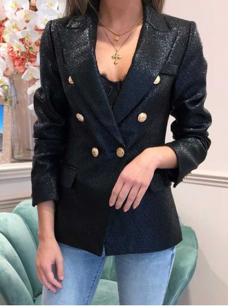 Clarice Double Breasted Blazer - Black
