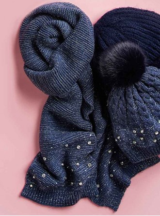 Embellished Woven Scarf - Navy