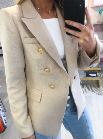 Serena Woven Double Breasted Jacket - Beige