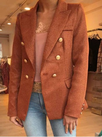 Serena Woven Double Breasted Jacket - Burnt Orange
